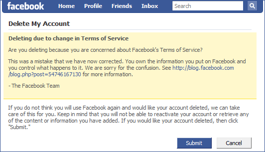 how to delete email from facebook login